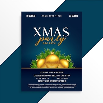 Beautiful christmas party event poster design