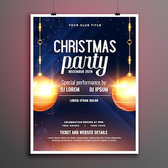 Beautiful christmas party flyer with invitation details