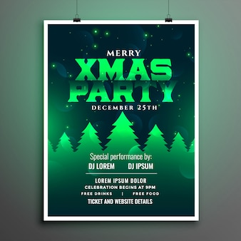 Beautiful christmas party green party flyer template design
