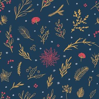 Красивый рождественский узор с цветочными элементами вектор бесшовный образец с цветочными листьями