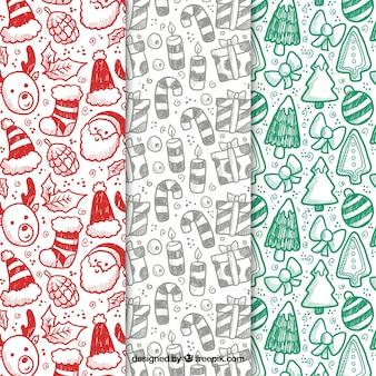 Красивые рождественские узоры в красном, сером и зеленом