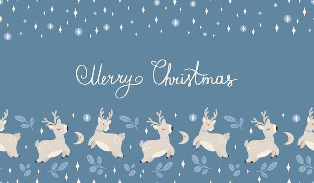 아름 다운 크리스마스 원활한 패턴 손으로 그린 크리스마스 섬유 배너에 대 한 상세한 좋은