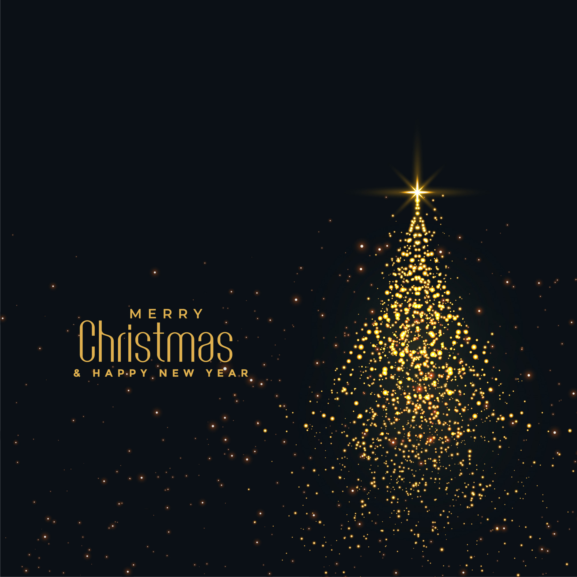 Beautiful christmas shiny tree made with golden particles