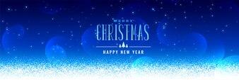 Beautiful christmas snowfall blue background