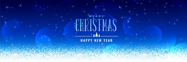 Beautiful christmas snowfall blue background