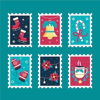 美しいクリスマススタンプコレクション手描きスタイル
