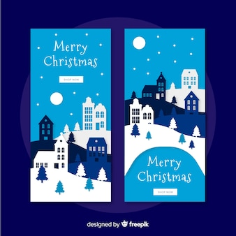 Beautiful christmas town banners in paper style