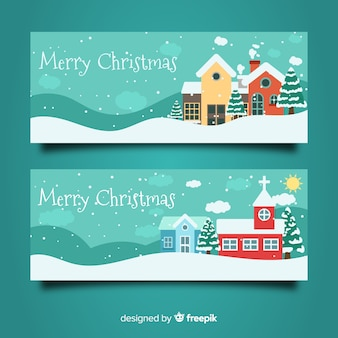 Beautiful christmas town banners