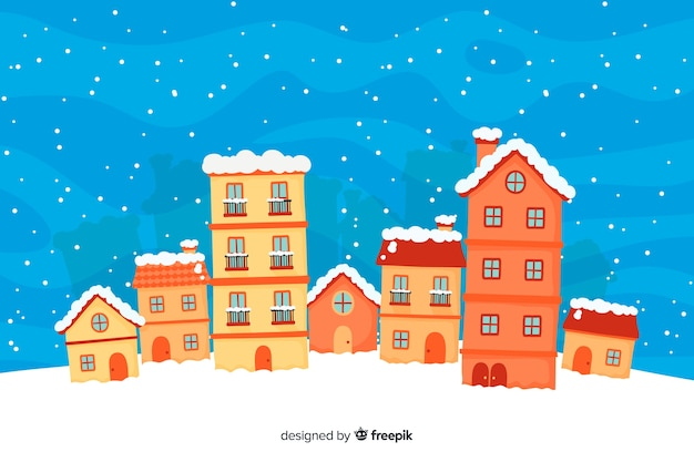 Beautiful christmas town hand drown style