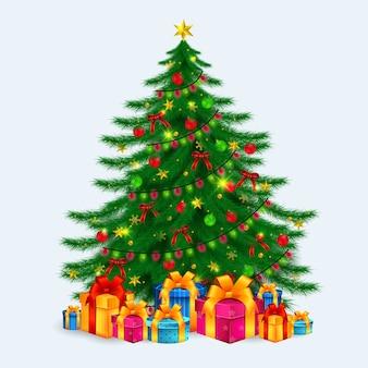 Красивое украшение елки с рождеством христовым