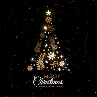 Beautiful christmas tree decorative greeting card design