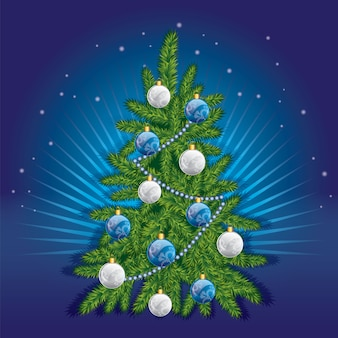A beautiful christmas tree in the . illustration for a card or poster. new year's and christmas.