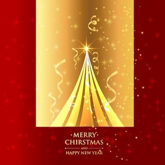 황금 배경에서 아름 다운 크리스마스 트리