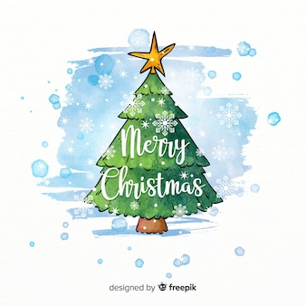Beautiful christmas tree in watercolor style