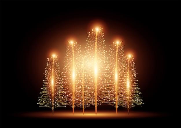 暗い背景にライトと美しいクリスマスツリー