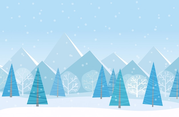 Beautiful christmas winter cartoon landscape