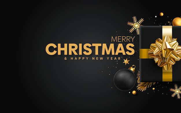 Beautiful christmas with golden decoration template