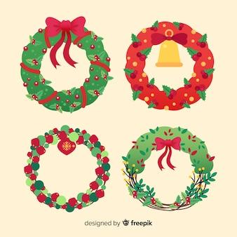 아름다운 크리스마스 화환 수집