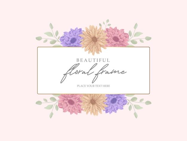 美しい菊の花のフレームデザイン