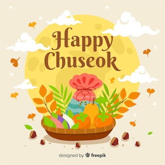 Beautiful chuseok background in flat style