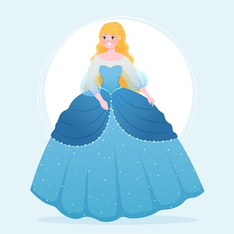 青いドレスの美しいシンデレラプリンセス