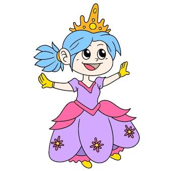 멋진 드레스를 입은 아름다운 신데렐라 공주가 파티에 오고 있습니다. 낙서 아이콘 이미지입니다. 만화 caharacter 귀여운 낙서 무승부