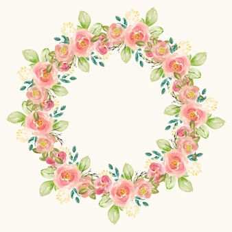 꽃의 아름다운 원 수채화