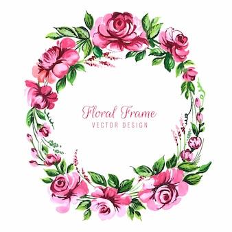 美しい円形の花フレームカードの背景