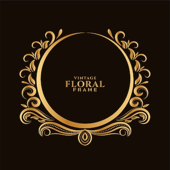 Beautiful circular golden floral frame design