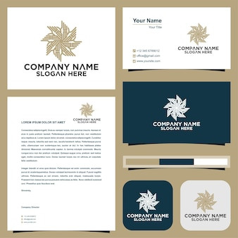 ブティックフラワーショップビジネスインテリアと名刺プレミアムの美しい円形のロゴ