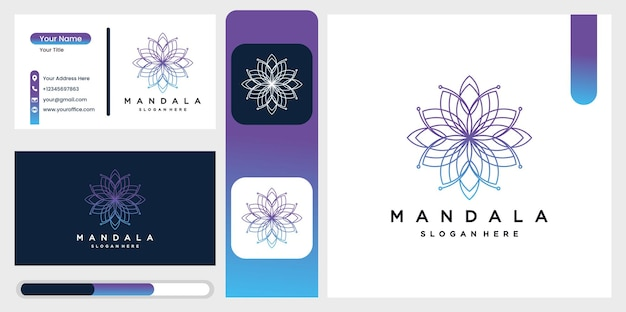 Beautiful circular mandala logo in gradation for boutique, florist, business, interior.