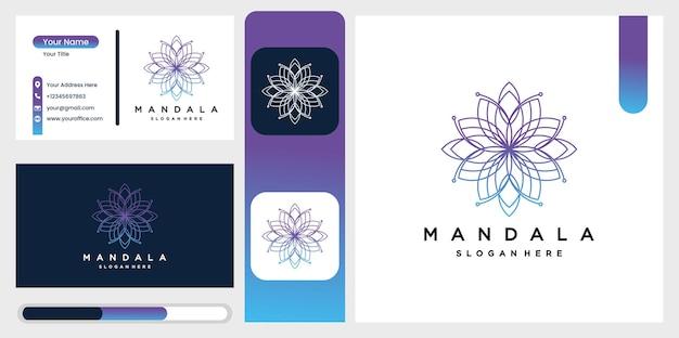 부티크, 플로리스트, 비즈니스, 인테리어를위한 그라데이션의 아름다운 원형 만다라 로고.