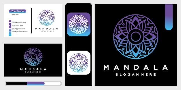 ブティック、花屋、ビジネス、インテリアのグラデーションで美しい円形の曼荼羅のロゴ。