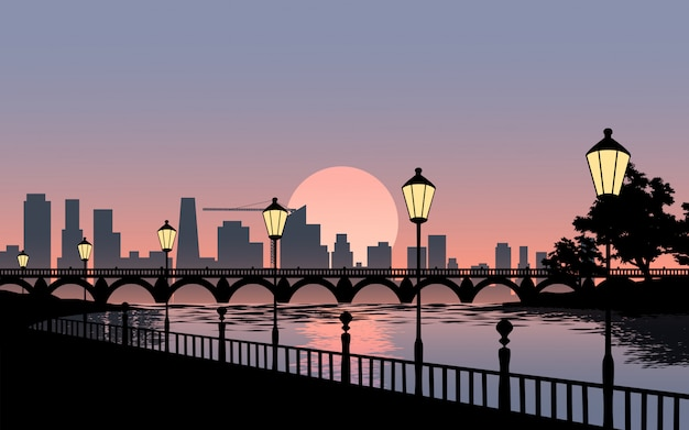 Красивая иллюстрация города с мостом и уличные фонари