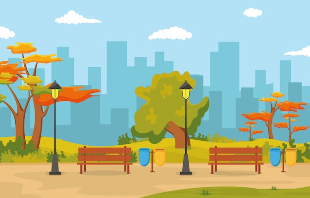 Beautiful city park in fall autumn with building skyline illustration