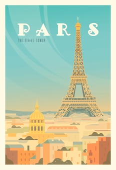 Beautiful city view in sunny day in paris with historical buildings, the eiffel tower, trees. time to travel. around the world. quality poster. france.