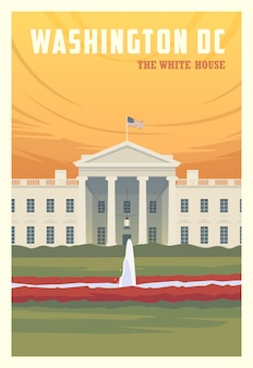 Beautiful cityscape in sunny day in washington dc with building, field, flowers. time to travel. around the world. quality poster. the white house.