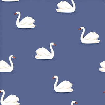 Beautiful classic hand drawn white swan bird in the blue lake seamless pattern