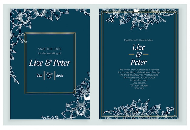 Beautiful classic navy wedding invitation template with hand drawn floral.