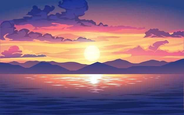 산과 물으로 아름 다운 흐린 일몰 그림