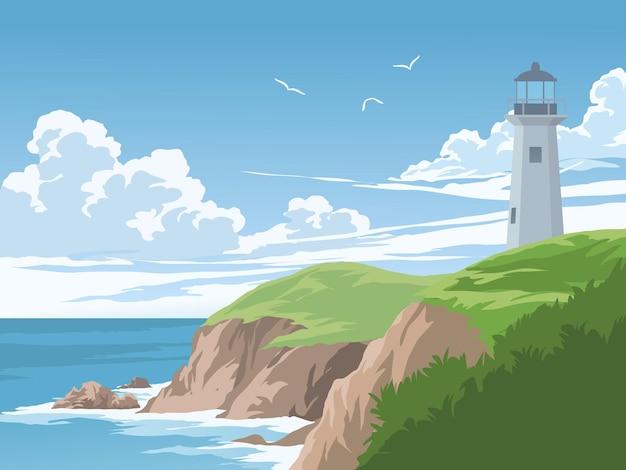 晴れた日に灯台のある美しい海岸