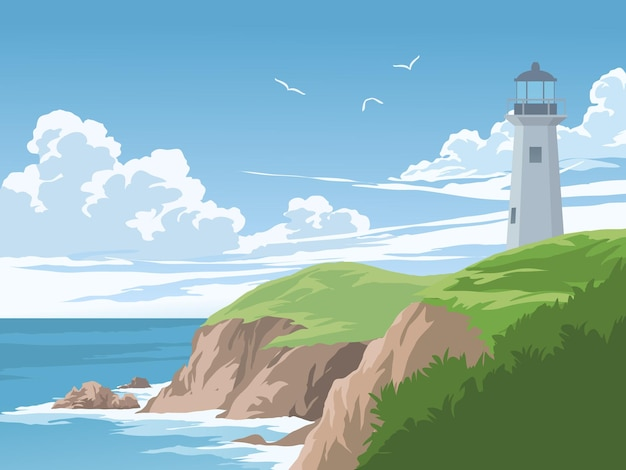 Beautiful coast with lighthouse on sunny day