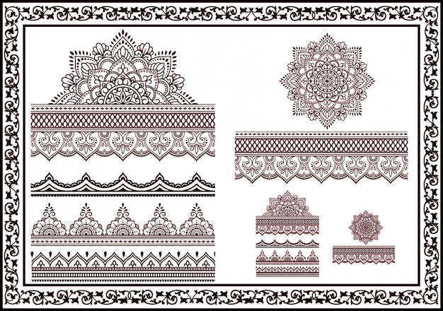 6f97c436b Beautiful collection of flower patterns for drawing henna and tattoos.  decoration in oriental ethnicity