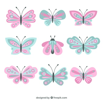 Beautiful collection of butterflies in pastel colors
