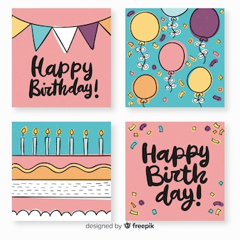 Beautiful collection of hand drawn birthday cards