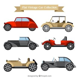 Красивая коллекция старинных автомобилей в плоском дизайне