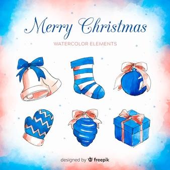水彩のクリスマスの要素の美しいコレクション