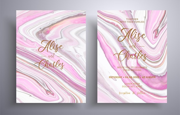 Beautiful collection of wedding invitations with stone texture. mineral   covers with marble effect