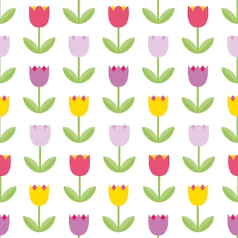 Beautiful color tulips on the white background.  seamless pattern. colorful flower pattern. cute flower background good use for mother's day, 8 march, spring cards, summer illustrations.