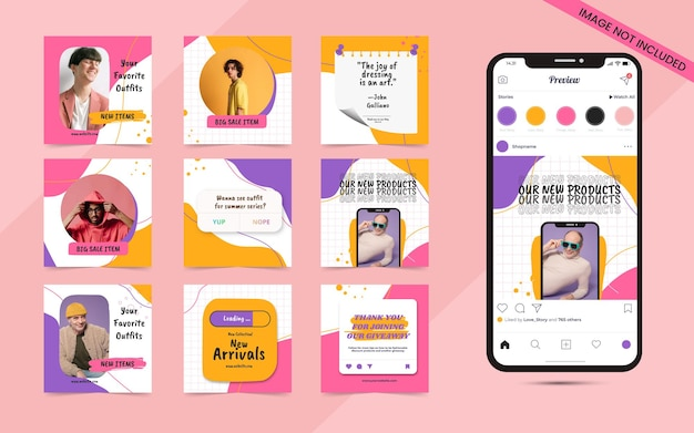 Beautiful and colorful abstract seamless social media carousel post banner for instagram fashion sale promotion